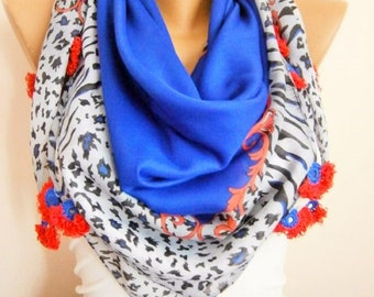 Spring Animal Print Handmade SAXE BLUE Scarf with Crochet flowers -Women scarf-gift for her-Women Accessories-Turkish OYA