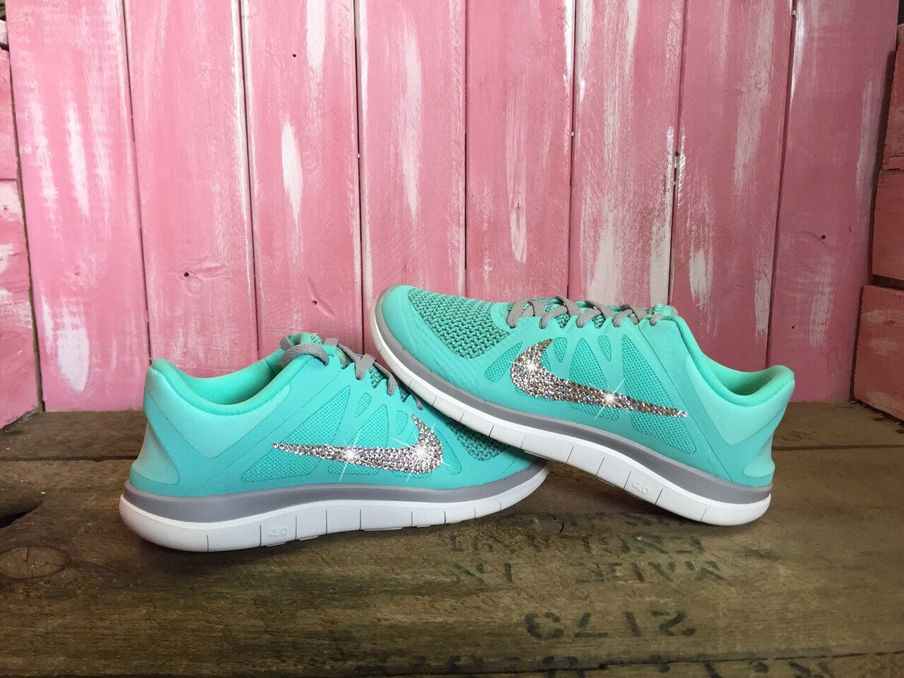 Blinged Nike Free Run 4.0 V4 Premium Running Shoes Hyper Turquoise Grey  Customized With Swarovski Crystal Rhinestones Bling e7dd0148d7