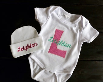 Baby clothing set-onesie and hat-baby shower gift set-infant cap and bodysuit-baby girl outfit-baby beanie onesie-embroidered-personalized