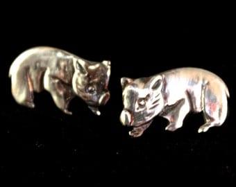 Wombat stud earings - sterling silver 18mm