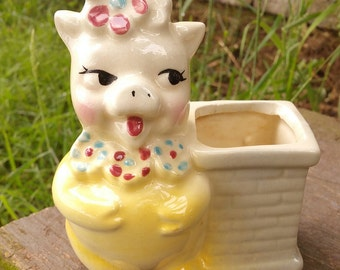 Yellow Pig with Flowers Ceramic Planter