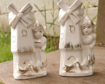 Porcelain Windmill and Dutch Girl Mini Vases