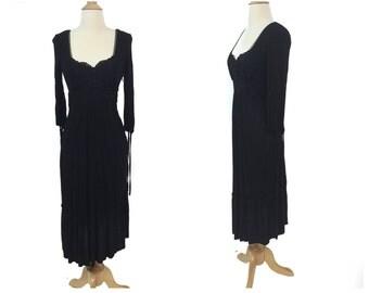 Vintage 90s BCBG Paris Black Peasant Dress