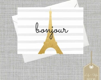 Eiffel Tower Card, Gold, French Card Bonjour Card , Blank Card, Any Occasion Card, Gold Foil Card,Paris Card, French Card, Thank You Card