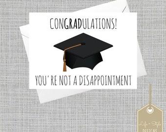 Funny Graduation Card,Graduation Congratulations Card, Graduation Card, Grad Card, School Graduation Card, Blank Card, Funny Graduation