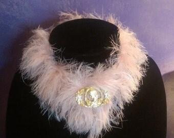 pink magic yarn choker with vintage maiden pin