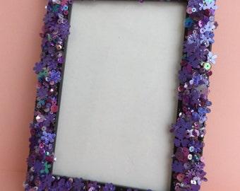 Purple Sequin Embellished Black Frame