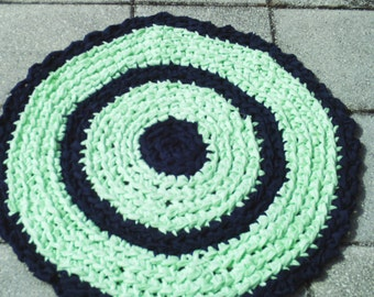 Crocheted round rag rug, mint green and navy blue rug, washable rag rug, measures 27 inches across,  shipping included JW60