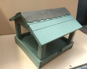 Garden Bird feeder table - Hand made and painted in pastal colours - Sea Grass