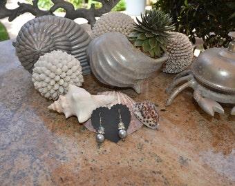 Gray Pearl Rhinestone and Crystal Earrings