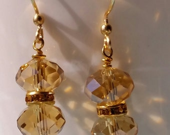 Gorgeous Topaz Chinese Crystals , handmade ear wires with  non tarnish and gold