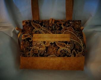 Bow tuck bag - dark brown paisley