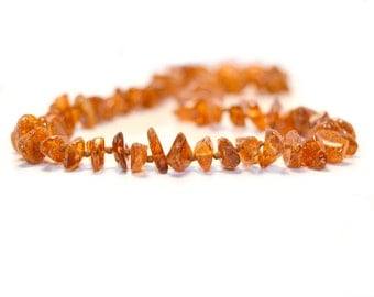 Polished Baltic Amber Teething Necklace with Screw Clasp - Nugget Cognac