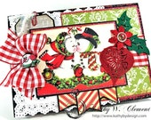 Retro Christmas Kissing Snowman Card