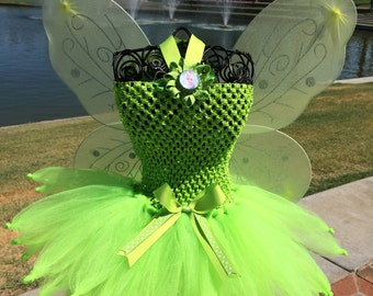 Tinkerbell Inspired tutu dress, Halloween tutu costume