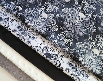 Skull Baby Blanket - Black and White - Minky Back - Goth Baby - Goth Nursery - Personalized Baby Blanket