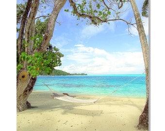 Bora Bora hammock photo | bora bora photo | hammock photo | ocean canvas art | tropical beach photo | tropical wall art | hawaii art