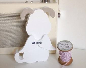 Personalised wooden 'angel' dog