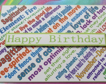 Happy Birthday Card for Sagittarius Zodiac (sign of the Archer)