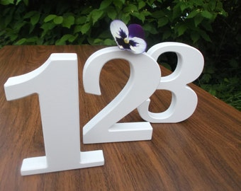 """1-10  5"""" White Wedding table decoration, Wooden table numbers, Wedding reception decor, Table Numbers, Anniversary, Free standing numbers"""