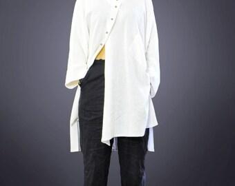 White linen loose shirt/Asymmetrical shirt/Woman long shirt/Casual amazing oversize top/Maxi asymmetrical shirt/Plus size shirt/T1286
