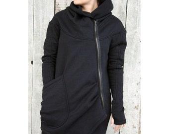 Women's Hoodie, Warm Hoodie, Cotton Coat, Asymmetrical Front Zipper, Hooded Coat, Handmade, Black Hoodie,Clothes Navaho