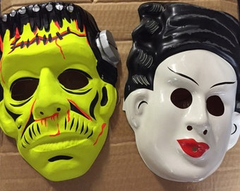 Universal monsters Halloween glow in the dark mask collection frankenstein and bride of frankenstein