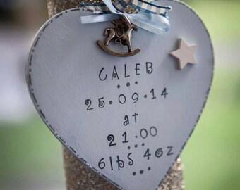 Stunning new baby gift 12 cm hanging heart
