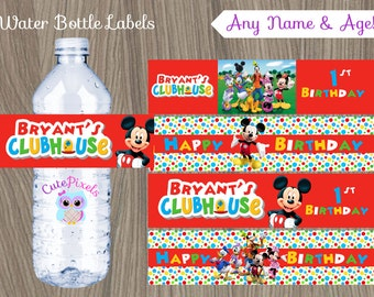 Mickey Mouse Water Bottle Labels, Mickey Mouse Birthday, Mickey Mouse Clubhouse, Mickey Mouse Clubhouse Party, Mickey Bottle Label