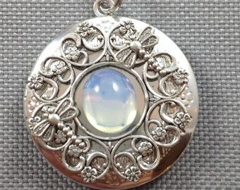 Moonstone locket, dragonfly locket, vintage locket, opal locket, photo locket, silver locket, floral locket, antique locket
