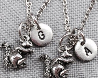 Best friend necklace, squirrel necklace, animal necklace, friendship necklace, bff necklace, friend necklace, animal jewelry, personalized