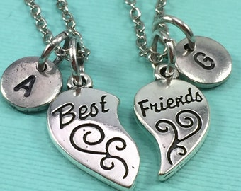 Best friend necklace, bff necklace, friendship necklace, personalized necklace, friends necklace, best friend jewelry, initial necklace