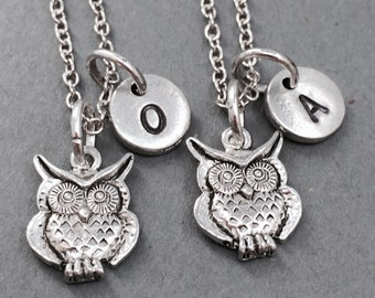 Best friend necklace, owl necklace, bird necklace, owl jewelry, sister necklace, friendship necklace, bff necklace, silver owl