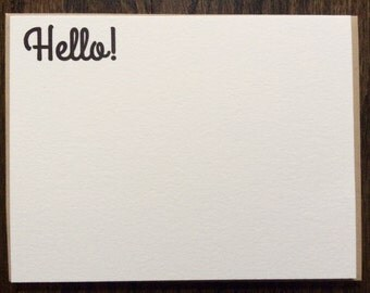 "Letterpress Note Cards (A2)- ""Hello"" with Paper Bag Euro-Style Envelopes"