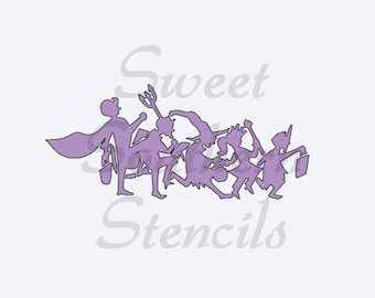 Trick or Treating Kids Stencil