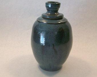 Stoneware Blue Vase With Lid