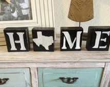 Home wood blocks. Texas home decor. Wood letter blocks. Hand painted Texas gifts. rustic wood decor. Texas decor. Home letters.