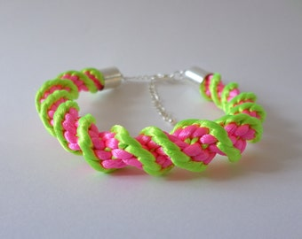 Bold Neon green and pink kumihimo bracelet