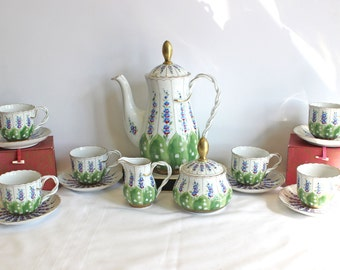 Romanian Hand Made and Hand Painted Tea Set - Lily of the Valley circa 1991 - Hand painted and signed