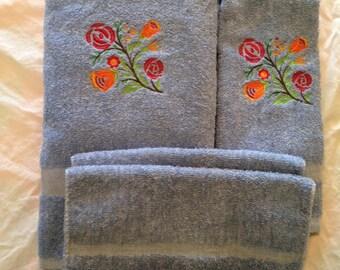 Embroidered Bath Towel Set 4 - Piece Floral Design