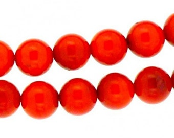 Strand of 48 beads round 8mm 8 mm dyed red coral