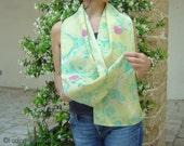 Hand painted silk scarf. Abstract, marbling, green, pink, yellow, for her piece. OOAK.