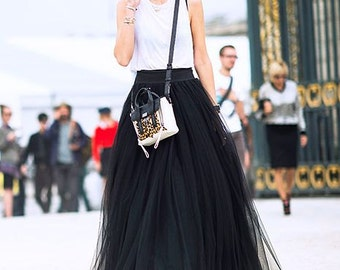 Black Tulle Full Length Bridesmaid Wedding Gown Long Skirt
