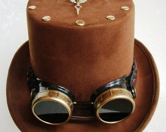 BRCH0011 Brown Coachman's Top Hat with Onboard Clock & Goggles