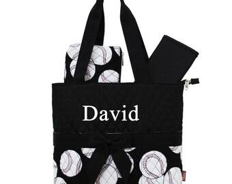Monogram Diaper Bag Quilted Baseball Black Diaper Bag  - 3 pc