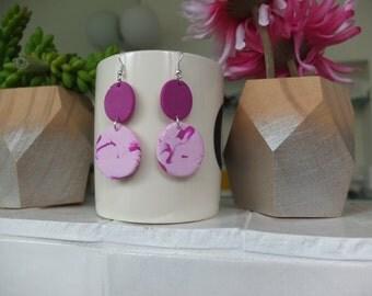 Magenta Pink Marbled Drop Earrings