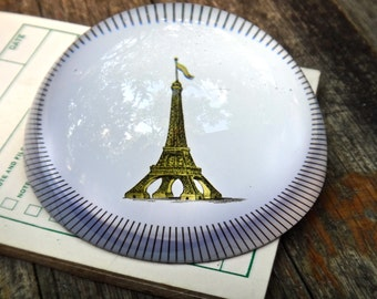 Glass Paperweight, Eiffel Tower Decor, Paris France French Decor, Man Cave Paperweight, Mens Gift, Office Supply, Parisian Office Decor