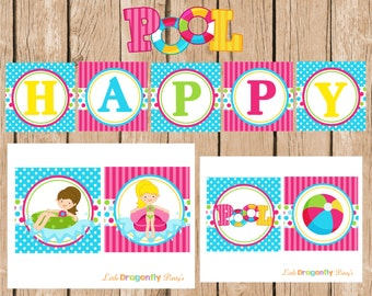 Pool Party Happy Birthday Banner, DIY, Instant Download