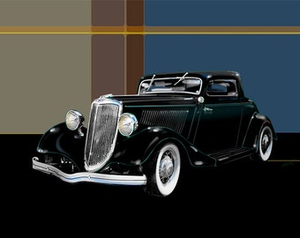 1934 Ford....gallery wrapped stretched canvas or luster photo paper print, 34 Ford, car art, classic, car, automobile, hot rod