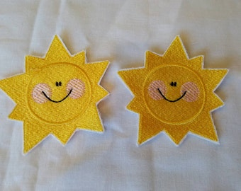 READY TO SHIP!!!! Summer Time At The Beach- Smiley Sun Embroidered Iron On Patches. Set of two!